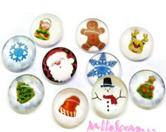 Set of 10 Christmas scrapbooking embellishment special glass cabochons *.