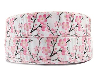 """Cherry Blossom Grosgrain Ribbon- 1""""Inch Craft Supply Ribbon- Printed Ribbon- Flower Ribbon-Grosgrain ribbon by the yard - Sewing supplies"""