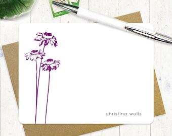 personalized note card set - CONEFLOWER - set of 12 flat note cards - personalized stationary - stationery