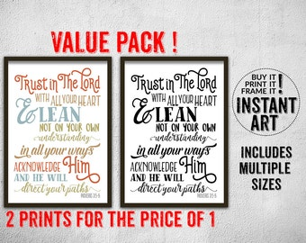 Proverbs 3:5-6 Trust in the Lord with all your heart bible verse quote • VALUE PACK 2 for 1 • christian wall art print