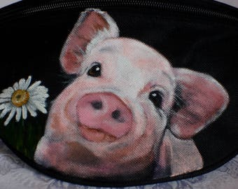 Hip Bag aka Bum Pack painted with Ophelia the sweet pig