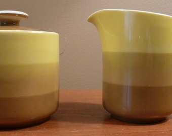 Mid-century Holt-Howard mustard yellow and olive green stripes lidded sugar bowl and creamer