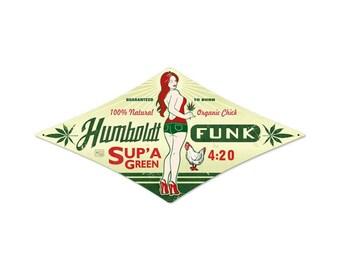 "Humboldt Funk 420 Marijuana Metal Sign 24"" x 12"" Diamond"