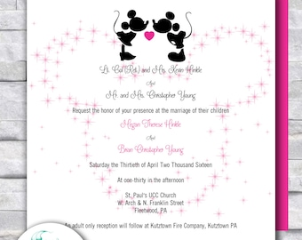 Disney wedding invitations etsy disney wedding invitation personalized mickey minnie pink black rsvp place cards menus seating chart cute fun detailed card stopboris Images