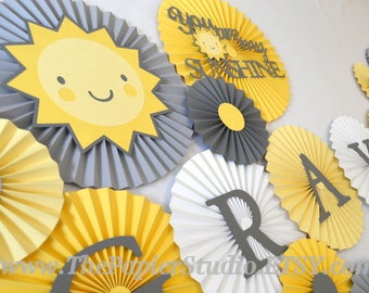 You Are My Sunshine, Yellow and Gray, Set of 24 Paper Rosettes