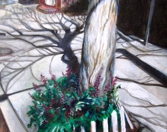 Sidewalk Shadows, 11x14 original acrylic painting