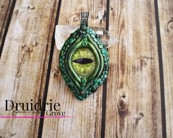 Forest Dragon Necklace - Dragon Jewelry - Dragon Necklace - Pagan Jewelry - Polymer Clay Dragon Eye Necklace - Dragon Cosplay - Dragon Lover