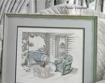 The Porch Swing Counted Cross Stitch Book Thirty-Eight by Paula Vaughan, 1990 Leisure Arts Leaflet 2016, Victorian porch swing rocking chair