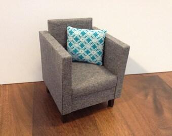 """Modern Grey Chair, Dollhouse furniture, 1:6 scale,10""""- 12"""" dolls"""