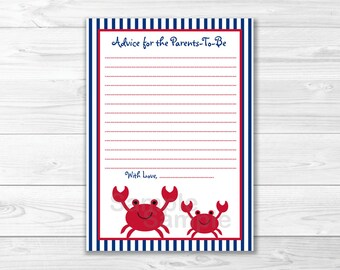 Nautical Crab Mommy Advice Cards / Crab Baby Shower / Baby Shower Advice Cards / Baby Boy / Printable INSTANT DOWNLOAD A296
