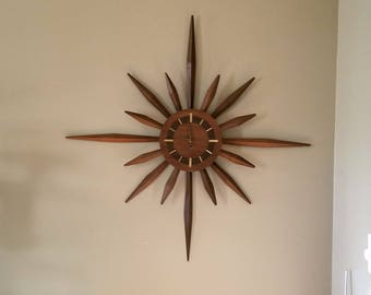 Great Mid Century Modern Starburst Sunburst Golden Walnut Wall Clock