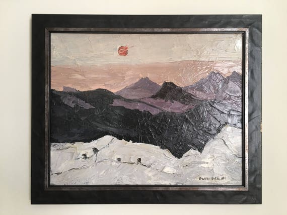 Welsh school oil on canvas by Owen Meilir rising sun over mountains Kyffin Williams style