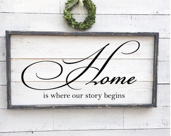 Home is where our story begins, vintage wood sign, framed shiplap