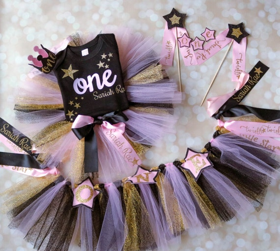 First Birthday Outfit Gold Pink Black Twinkle Little Star Baby
