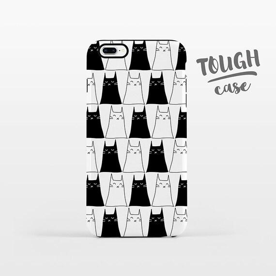 Cat Phone Case iPhone 8 Plus Case iPhone X Case iPhone 7 Case iPhone 8 Case iPhone SE Case 6 6s 5s 5c 5 4 Black and White iPhone Case TOUGH
