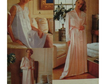 Lace Yoke Nightgown, Robe Pattern, V-neck, Sleeveless/Long Sleeves,  Long/Short Nightie, Wrap Robe, Vogue No. 7653 UNCUT Size L XL (16-22)