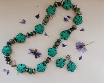 Turquoise Necklace, Floral Blue Necklace, Summer Necklace, Something Blue, Bridal Necklace, Charity Necklace, Charity Donation