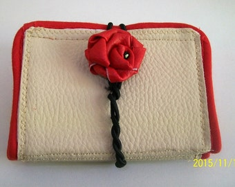 Door cards beige to red roses, leather PVC for women