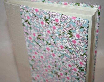 Handbound Unlined Journal - full bloom cherry blossoms - pink and white on pale blue, 6x8.5, SALE