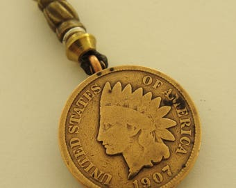 Authentic Antique 1907 INDIAN HEAD PENNY Pendant Necklace with Beadwork