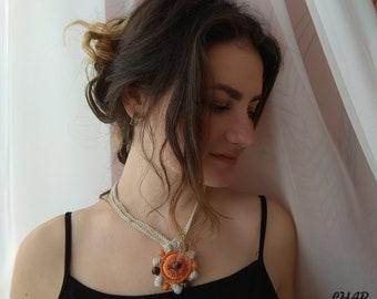 Crochet necklace Crochet jewelry Pendant crochet Flower Crochet Choker  Necklace with flower Choker Charm Orange Necklace