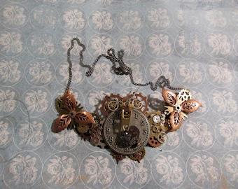 Steampunk Owl Statement Necklace