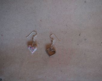 Earrings pastry with cookie cutter, heart, Christmas earrings