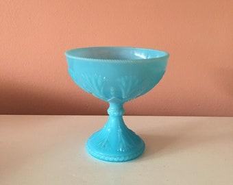 Vintage Blue Milk Glass Vase