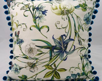 Botanical Floral Print Cushion  Lilly and Butterfly