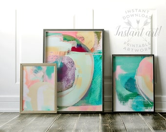 Abstract painting set of 3, PRINTABLE art, Colorful art, Abstract art, Midcentury art, painting, Abstract print, Brushstroke art, Modern art