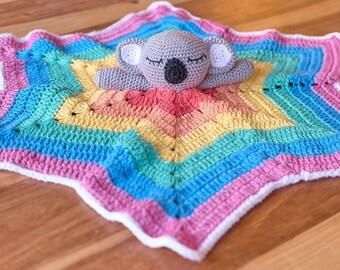 Koala lovey blanket - Koala security blanket- Koala comforter- Crochet koala baby blanket - Rainbow baby lovey