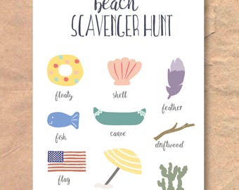 Instant Download Printable Beach Scavenger Hunt