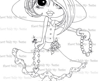 INSTANT DOWNLOAD Digital Digi Stamps Big Eye Big Head Dolls Digi Little Miss Bling Scan0002dec181 By Sherri Baldy