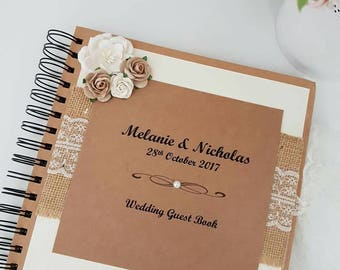 Wedding Guest Book, vintage style wedding guest book, rustic guest book, rustic guest book, shabby chic guest book