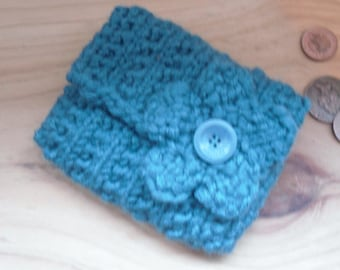 Knitted Coin Purse, Turquoise Blue Change Purse Hand Knitted with Flower Decoration