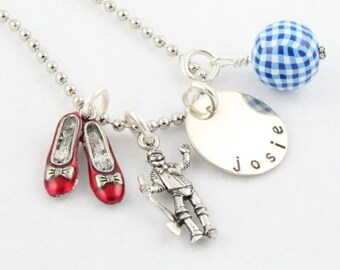 Wizard of Oz Necklace for Child- Charm Necklace - Ruby Red Slippers Necklace - Silver Charm Necklace For Girl - Personalized Necklace