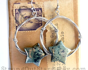 Rock Star - Strung-Out guitar string bronze hoop earrings with pyrite star