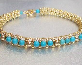 natural turquoise beaded bracelet gold bead bracelet 22 K gold  turquoise beadwork jewelry