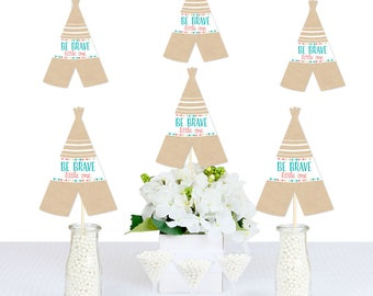 Be Brave Little One Decorations - DIY Teepee Shaped Party Decorations - Baby Shower or Birthday Party Essentials - Wild One - 20 Count