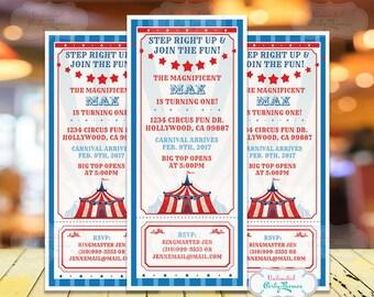 Circus Invitation, Carnival Party Invitation, Circus Birthday Party