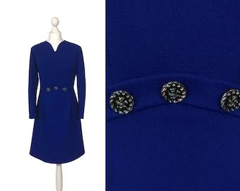 Kobalt blau 60er Jahre Kleid | UK 14 16 | Jahrgang 1960 Kleid | Lange Ärmel | A-Linie Rock | Mad Men-Kleid