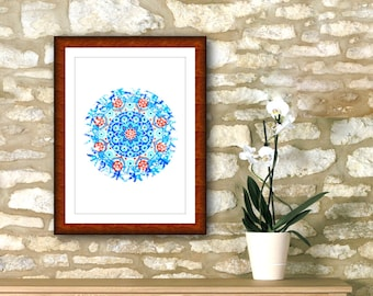 "Light blue mandala printable 7"" x 7"" geometric roundie, emotional art print, awareness spiritual yoga wall, cheap home decoration online."