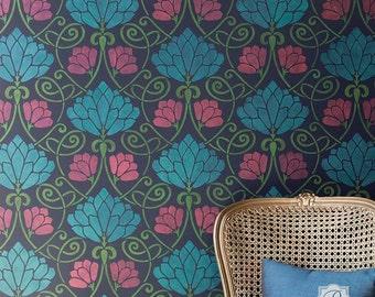 Lotus Flower Wall Stencil - Retro Vintage Art Nouveau Art Deco Wallpaper Pattern - Large Flower Mural