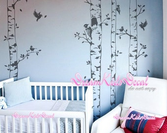 tree vinyl wall decals nursery wall decals children wall sticker nursery room Kids bedroom decor-Tree with flying birds wall decal-DK154
