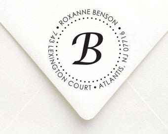 Custom Monogram Address Stamp, Personalized Round Monogram Return Address Stamp, Self Inking Round Address Stamp