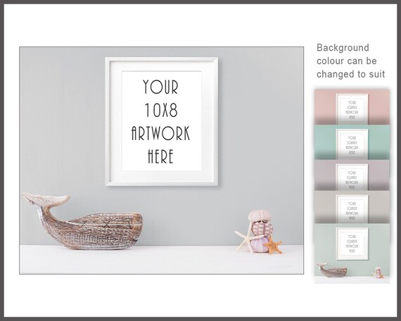 10x8 Frame Mockup Digital Frame Bathroom Mockup White Frame