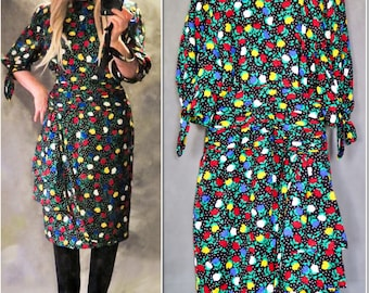 Escada By Margaretha Ley Vintage Silk Black Floral Knee Length Dress, 40 (12)