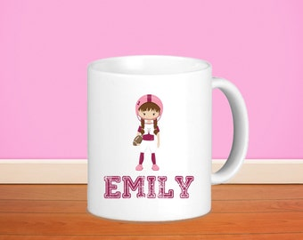 Sports Kids Personalized Mug - Sports Girl with Name, Child Personalized Ceramic or Poly Mug Gift