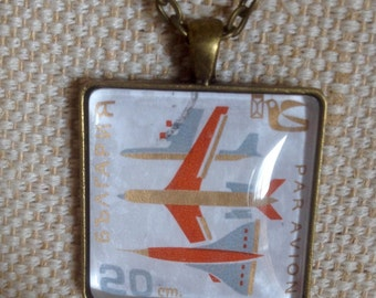 CLEARANCE! Retro jet airplane stamp necklace / Vintage upcycled Bulgarian stamp pendant / bronze tone square pendant /