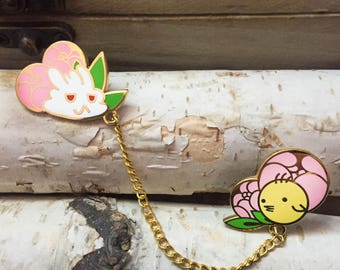 Bunny and Birb Chained Enamel Pin Set